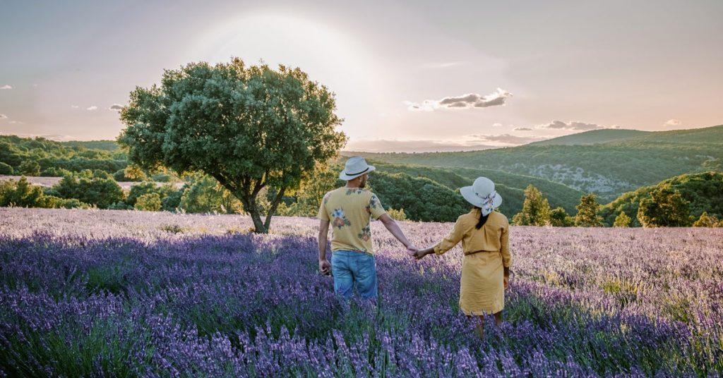 Couple dans un champ de lavande en Ardèche